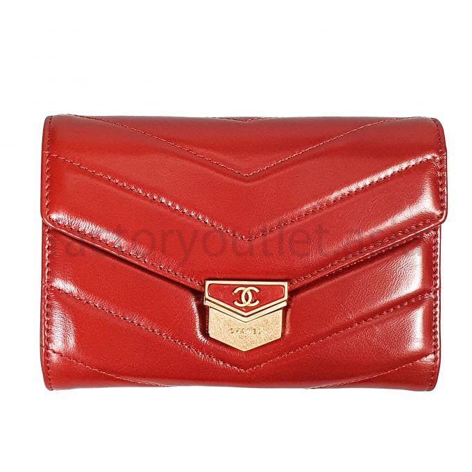 Ví - Chanel small flap wallet DS Đỏ 1