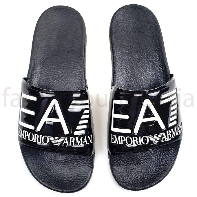 Armani EA7 Slides in PVC with logoed strap -  HN Black 1