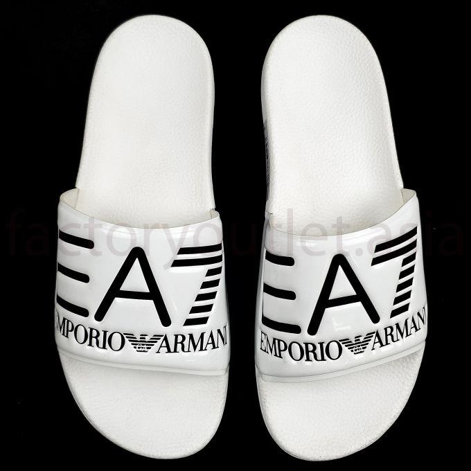 Armani EA7 Slides in PVC with logoed strap -  HN White 1