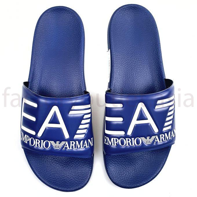 Armani EA7 Slides in PVC with logoed strap -  HN Blue 1
