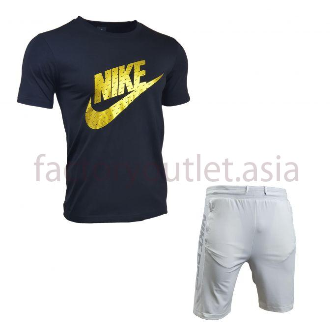 Set Nike Short - LO Tee Black-Short White 1
