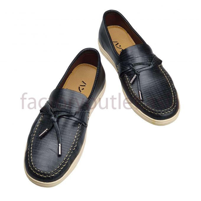 Hansamu leather boat shoes - AL stripes Black 1