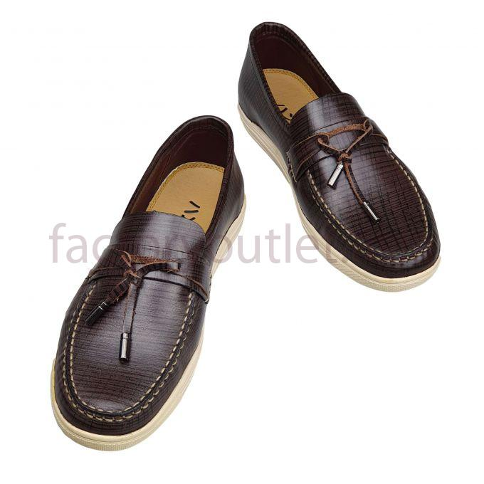 Hansamu leather boat shoes - AL stripes Choco Brown 1