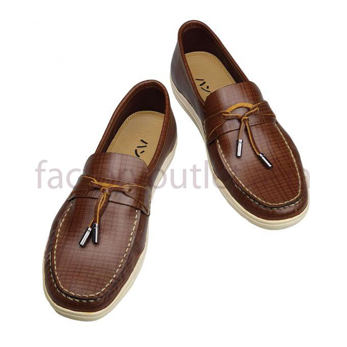 Hansamu leather boat shoes - AL stripe Dark brown 1