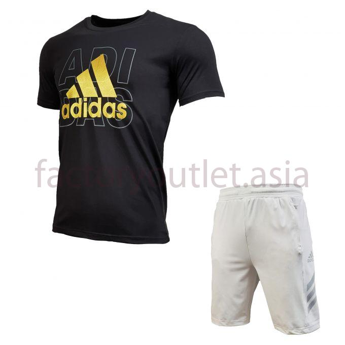Set Adidas Short - LO Tee Black - Short White 1