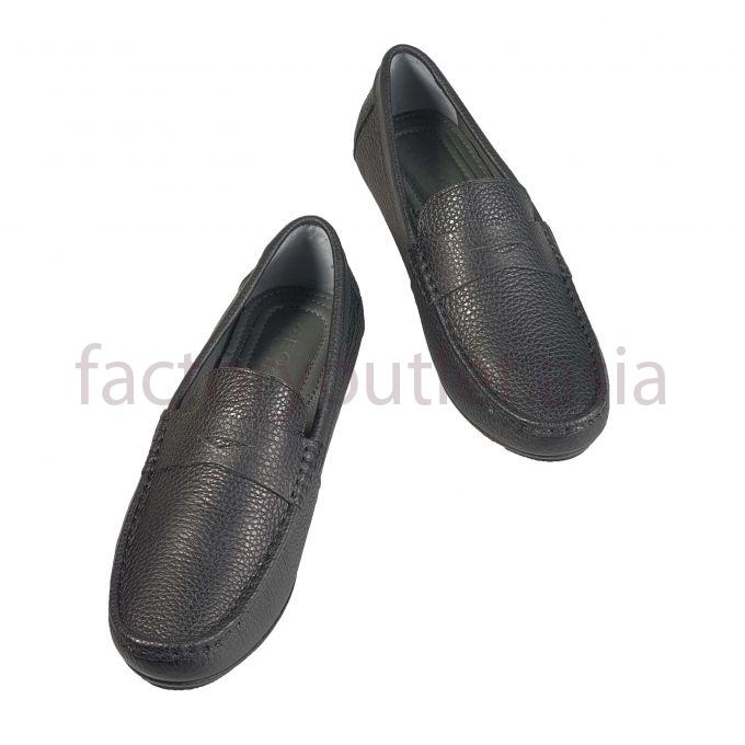 Geox men leather loafer penny triangle  - GDNG07 Black 1