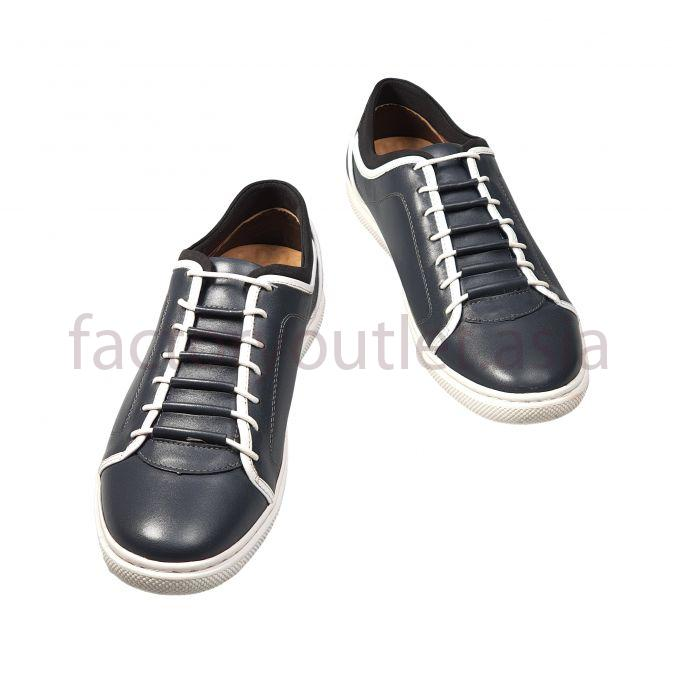 Bellanita leather shoes Pierced white lacing wire - BL Dark blue 1