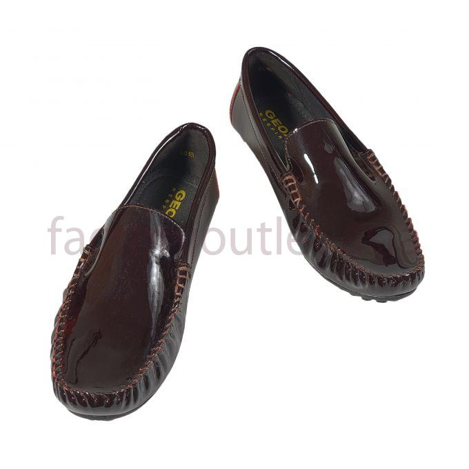 Geox men patent leather loafer - HNG penny Dark brown 1