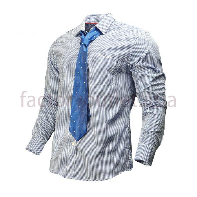 Pierre Cardin checkered stripes shirt with tie - Blue 1