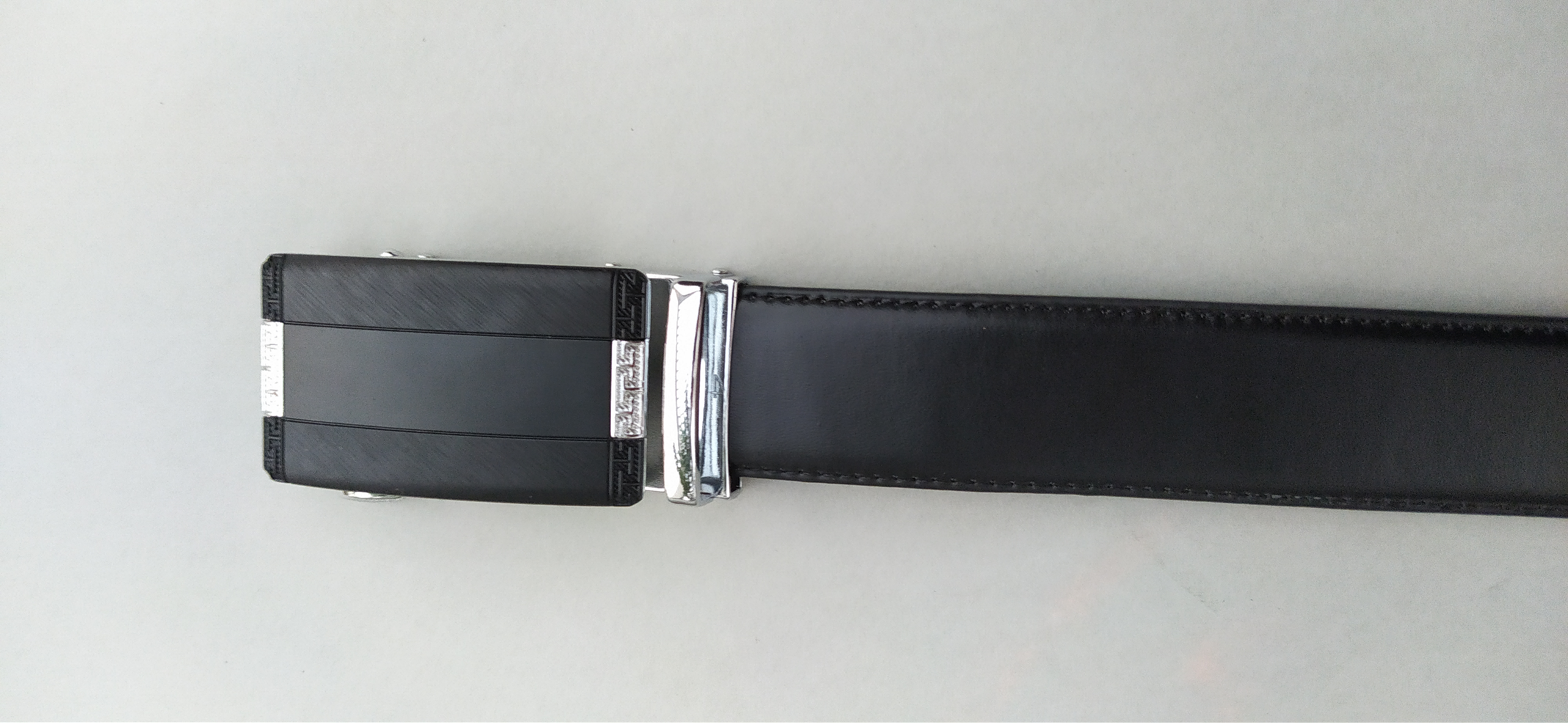 Tada pattern buckle smooth leather belt - Black 1